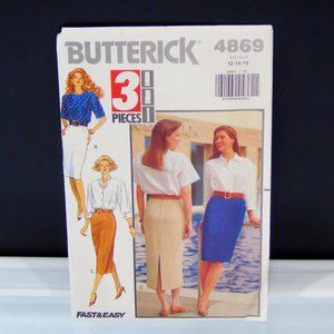 1990 Vintage Butterick 4869 Misses Skirt Pattern